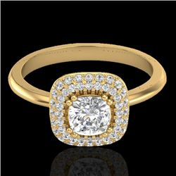 1.16 CTW Micro SI Cushion Diamond Engagement Ring Solitaire Halo 18K Yellow Gold - REF-149V5Y - 2103