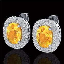 6 CTW Citrine & Micro Pave VS/SI Diamond Certified Halo Earrings 14K White Gold - REF-118K2W - 20118