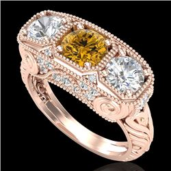 2.51 CTW Intense Fancy Yellow Diamond Art Deco 3 Stone Ring 18K Rose Gold - REF-345N5A - 37722