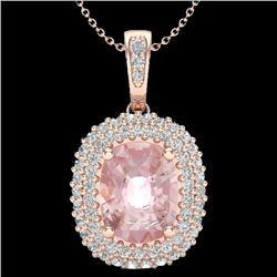 2.75 CTW Morganite & Micro Pave VS/SI Diamond Certified Halo Necklace 14K Rose Gold - REF-85N8A - 20