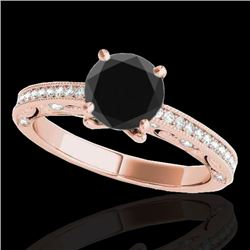 1.25 CTW Certified VS Black Diamond Solitaire Antique Ring 10K Rose Gold - REF-56A7V - 34742