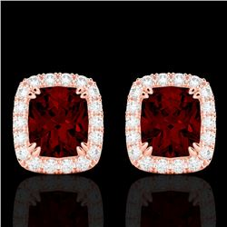 2.50 CTW Garnet & Micro Pave VS/SI Diamond Certified Halo Earrings 10K Rose Gold - REF-37A6V - 22864