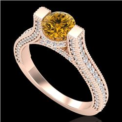 2 CTW Intense Fancy Yellow Diamond Engagement Micro Pave Ring 18K Rose Gold - REF-200X2R - 37624