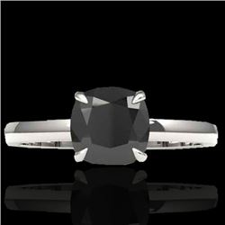 3 CTW Cushion Cut Black VS/SI Diamond Solitaire Ring 18K White Gold - REF-86N4A - 22135