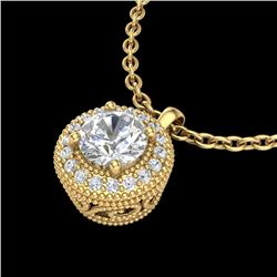 1 CTW VS/SI Diamond Solitaire Art Deco Stud Necklace 18K Yellow Gold - REF-180F2N - 36967