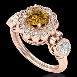1.50 CTW Intense Fancy Yellow Diamond Art Deco 3 Stone Ring 18K Rose Gold - REF-309N3A - 37855