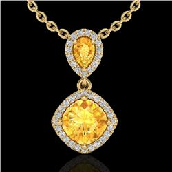 2.63 CTW Citrine & Micro VS/SI Diamond Necklace Designer Halo 10K Yellow Gold - REF-47W3H - 20543