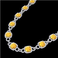 66 CTW Citrine & Micro VS/SI Diamond Certified Eternity Necklace 14K White Gold - REF-794H5M - 23038