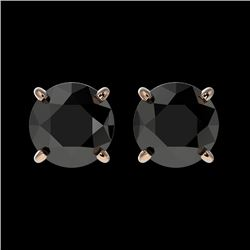 1.50 CTW Fancy Black VS Diamond Solitaire Stud Earrings 10K Rose Gold - REF-35A3V - 33073