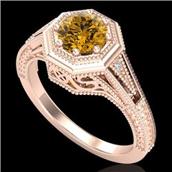 0.84 CTW Intense Fancy Yellow Diamond Engagement Art Deco Ring 18K Rose Gold - REF-161A8V - 37932