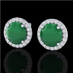 4 CTW Emerald & Halo VS/SI Diamond Micro Pave Earrings Solitaire 18K White Gold - REF-80K2W - 21491