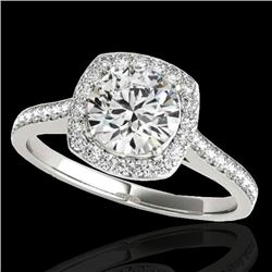 1.40 CTW H-SI/I Certified Diamond Solitaire Halo Ring 10K White Gold - REF-254R5K - 34184