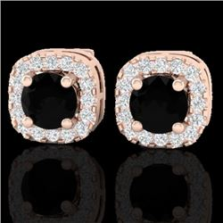 0.90 CTW Micro Pave Black & VS/SI Diamond Earrings Designer Halo 14K Rose Gold - REF-49A3V - 21168