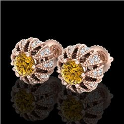 2.01 CTW Intense Fancy Yellow Diamond Art Deco Stud Earrings 18K Rose Gold - REF-210W9H - 37736