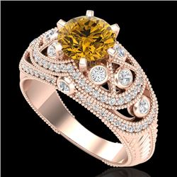 2 CTW Intense Yellow Diamond Solitaire Engagement Art Deco Ring 18K Rose Gold - REF-309X3R - 37981
