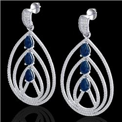 4 CTW Sapphire & Micro Pave VS/SI Diamond Designer Earrings 18K White Gold - REF-307N3A - 22459
