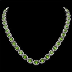 48.14 CTW Peridot & Diamond Necklace White Gold 10K White Gold - REF-756X5R - 40973