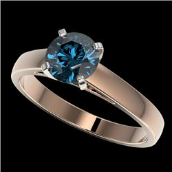 1.25 CTW Certified Intense Blue SI Diamond Solitaire Engagement Ring 10K Rose Gold - REF-147X7R - 33