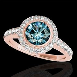 1.50 CTW SI Certified Fancy Blue Diamond Solitaire Halo Ring 10K Rose Gold - REF-180M2F - 34447