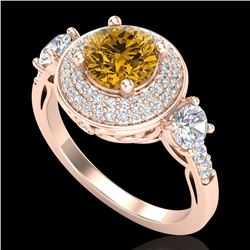 2.05 CTW Intense Fancy Yellow Diamond Art Deco 3 Stone Ring 18K Rose Gold - REF-300F2N - 38149