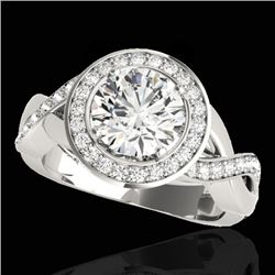 1.75 CTW H-SI/I Certified Diamond Solitaire Halo Ring 10K White Gold - REF-197K8W - 33267