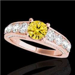 3.05 CTW Certified SI/I Fancy Intense Yellow Diamond Solitaire Ring 10K Rose Gold - REF-343R6K - 355