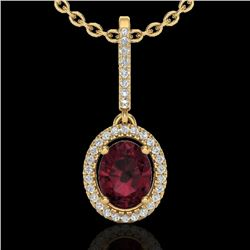 2 CTW Garnet & Micro Pave VS/SI Diamond Necklace Solitaire Halo 18K Yellow Gold - REF-58N2A - 20662