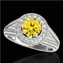 1.70 CTW Certified SI/I Fancy Intense Yellow Diamond Solitaire Halo Ring 10K White Gold - REF-233F6N