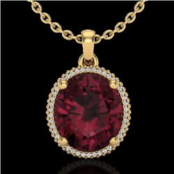 11 CTW Garnet & Micro Pave VS/SI Diamond Certified Halo Necklace 18K Yellow Gold - REF-70K9W - 20613