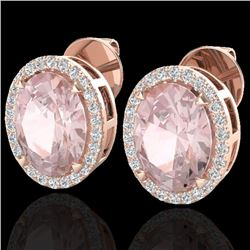 5.50 CTW Morganite & Micro VS/SI Diamond Halo Earrings 14K Rose Gold - REF-125A5V - 20253