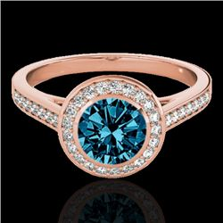 1.30 CTW SI Certified Fancy Blue Diamond Solitaire Halo Ring 10K Rose Gold - REF-168K4W - 33631