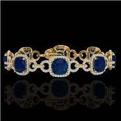 25 CTW Sapphire & Micro VS/SI Diamond Certified Bracelet 14K Yellow Gold - REF-418K2W - 23031
