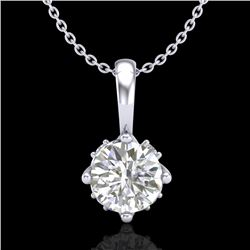 0.62 CTW VS/SI Diamond Solitaire Art Deco Stud Necklace 18K White Gold - REF-101R8K - 37022