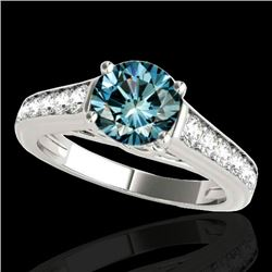 1.50 CTW SI Certified Fancy Blue Diamond Solitaire Ring 10K White Gold - REF-169M3F - 34903