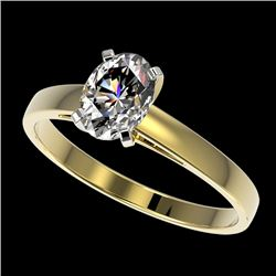 1 CTW Certified VS/SI Quality Oval Diamond Solitaire Ring 10K Yellow Gold - REF-297H2M - 32993