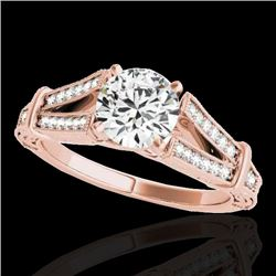 1.25 CTW H-SI/I Certified Diamond Solitaire Antique Ring 10K Rose Gold - REF-214R5K - 34658