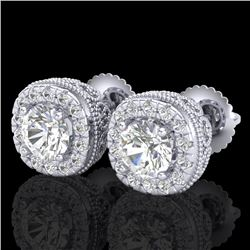 1.69 CTW VS/SI Diamond Solitaire Art Deco Stud Earrings 18K White Gold - REF-263N6A - 37118