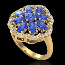 3 CTW Tanzanite & VS/SI Diamond Cluster Designer Halo Ring 10K Yellow Gold - REF-67M5F - 20790