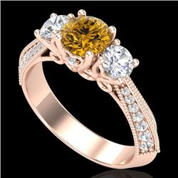 1.81 CTW Intense Fancy Yellow Diamond Art Deco 3 Stone Ring 18K Rose Gold - REF-236K4W - 38030
