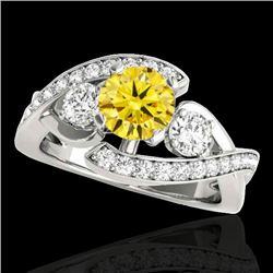 1.76 CTW Certified SI Intense Yellow Diamond Bypass Solitaire Ring 10K White Gold - REF-289F3N - 350