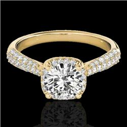 1.50 CTW H-SI/I Certified Diamond Solitaire Halo Ring 10K Yellow Gold - REF-177R6K - 33260