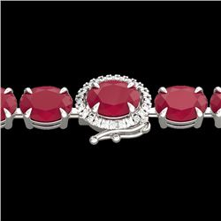 37 CTW Ruby & VS/SI Diamond Eternity Tennis Micro Halo Bracelet 14K White Gold - REF-272R7K - 23438