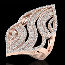 2 CTW Micro Pave VS/SI Diamond Certified Designer Ring 14K Rose Gold - REF-180R9K - 20868