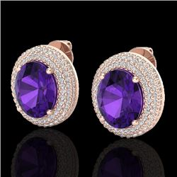 8 CTW Amethyst & Micro Pave VS/SI Diamond Certified Earrings 14K Rose Gold - REF-141Y8X - 20211