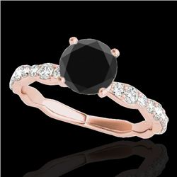 1.40 CTW Certified VS Black Diamond Solitaire Ring 10K Rose Gold - REF-56H2M - 34875