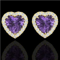 2 CTW Amethyst & Micro Pave VS/SI Diamond Earrings Heart Halo 14K Yellow Gold - REF-42N7A - 21200