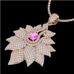 3 CTW Pink Sapphire & Micro Pave VS/SI Diamond Designer Necklace 14K Rose Gold - REF-227V3Y - 22568