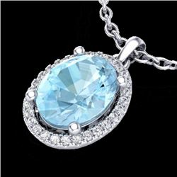 2.50 CTW Aquamarine & Micro VS/SI Diamond Certified Necklace Halo 18K White Gold - REF-63X6R - 21070