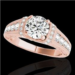 1.75 CTW H-SI/I Certified Diamond Solitaire Antique Ring 10K Rose Gold - REF-218V2Y - 34784