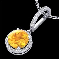 2 CTW Citrine & Micro Pave VS/SI Diamond Necklace Designer Halo 18K White Gold - REF-54M7F - 23192